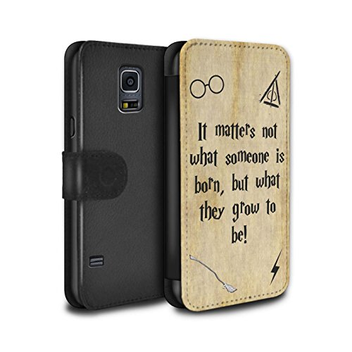 Stuff4® PU-Leder Hülle/Case/Tasche/Cover für Samsung Galaxy S5 Mini/Born & Grow Muster/Schule der Magie Film Zitate Kollektion (Harry Potter S5 Fall)