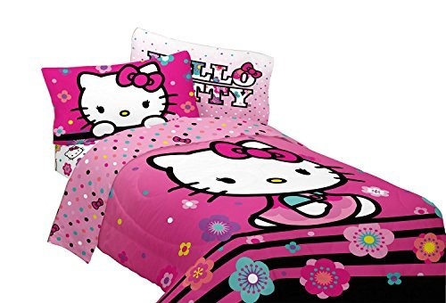 Kitty Set Hello Sheet Twin (Hello Kitty 3 Pc Microfiber Floral Hombre Twin Sheet Set by Hello Kitty)