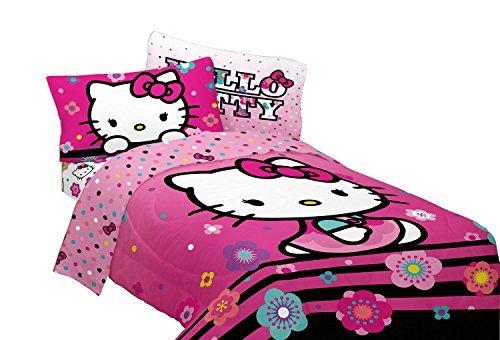 Twin Sheet Kitty Hello Set (Hello Kitty 3 Pc Microfiber Floral Hombre Twin Sheet Set by Hello Kitty)