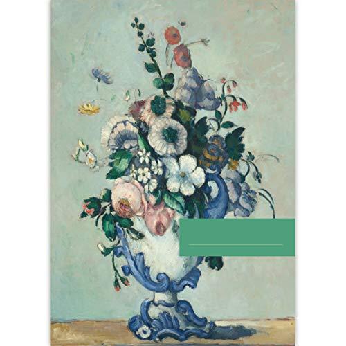 1 Schöner DIN A3 Malblock Kunst Motiv Paul Cézanne: Blumen in einer Rococo Vase, c. 1876 • Zeichenblock Skizzen-Block 25 Blatt weiß, kopfverleimt, Papier 100g/m² - für Schule, Basteln, Hobby -