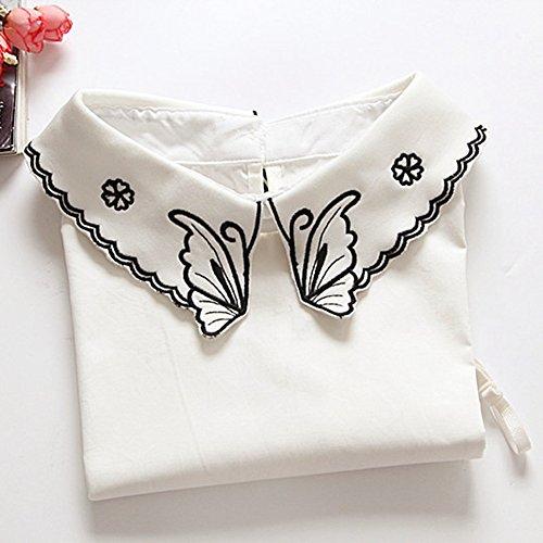 Juqilu Camicetta mezza camicetta camicia mezza collo colletto staccabile in misto cotone da donna farfalla