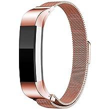 DEGBIT Fitbit Alta Correa de Reemplazo,Ajustable Pulsera de Acero Inoxidable con Cierre Magnético Band para Fitbit Alta and Alta Heart Rate (oro rosa)
