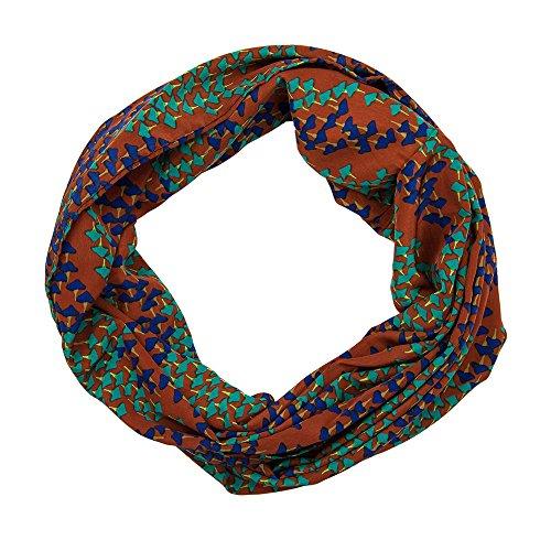 MANUMAR Loop-Schal für Damen | feines Hals-Tuch in rot mit Pilze Motiv als perfektes Frühling Sommer Accessoire | Schlauch-Schal | Damen-Schal | Rund-Schal | Das ideale Geschenk für Frauen und Mädchen -