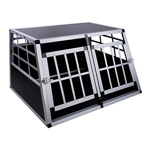 Hunde Transportbox mit 2 Türen, 89 x 69 x 50 cm, Aluminium Autobox, Hundebox, Reisebox, DC2