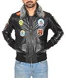 Veste en Cuir pour Homme Pilote Aviateur Top Gun Coiffer MILLÉSIME Badges Noir...