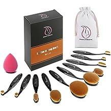 Brochas de Maquillaje , Start Makers Profesional Cepillos Ovales de Maquillaje, Set 10 Pinceles. Características en Polvo, Contorno, Base, Corrector,Fusión, Delineador de Ojos y Cepillos las cejas & Esponja de Maquillaje