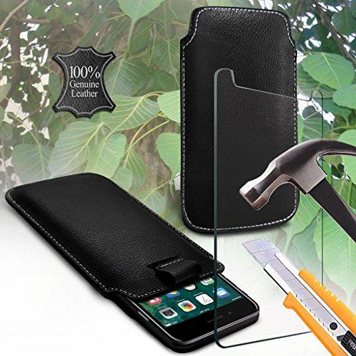 Preisvergleich Produktbild (Black 154 x 76 mm) Beutelkasten für UMIDIGI Z Pro Tasche Hülle, echten Leder-Qualitäts-Pull Tab-Schlag-Beutel-Haut, Tasche Hülleabdeckung UMIDIGI Z Pro Tasche Hülle mit gehärtetem Glas 5,5 Zoll 5,5 Zoll von i-Tronixs