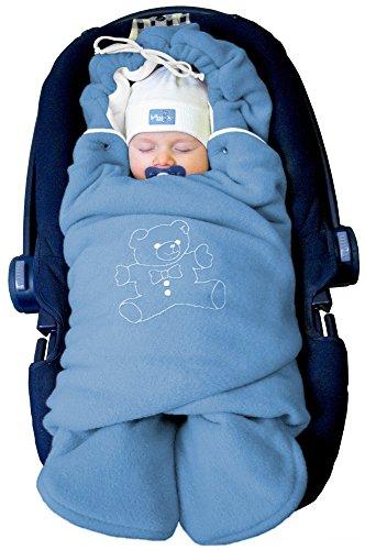 ByBoom ® - Baby Winter-Einschlagdecke Das Original mit dem Bären, Universal für Babyschale, Autositz, z.B. für Maxi-Cosi, Römer, für Kinderwagen, Buggy oder Babybett, Farbe:Blau/Weiß
