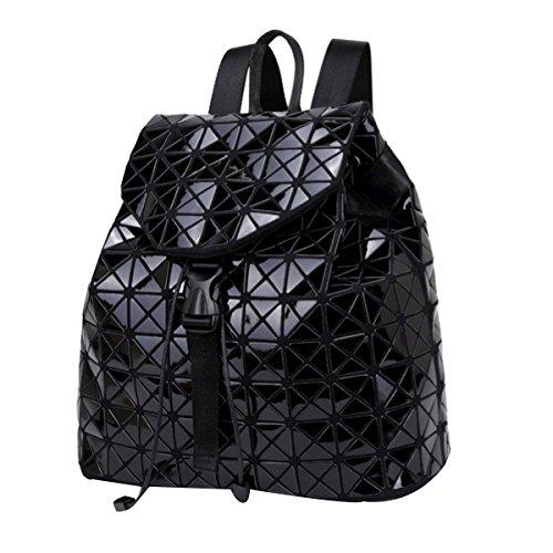 Preisvergleich Produktbild Damen Mode Soft Leder Laser Rucksack College Rucksack Umhängetasche Mehrfarbig,Black-M