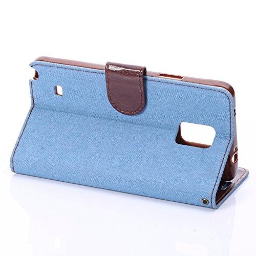 wkae Schutzhülle Case & Cover Denim-Style Leder Case mit Halter & CardSlots für Samsung Galaxy Note 4 blau