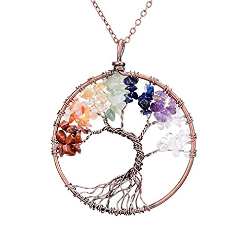 SEDMART Tree of life pendant Amethyst Rose Crystal Necklace Gemstone Chakra Jewelry Mothers Day Gifts (7 Chakra)