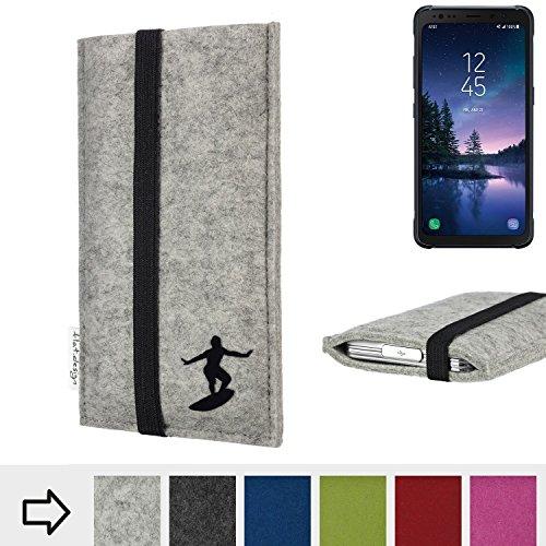 flat.design Handy Hülle Coimbra für Samsung Galaxy S8 Active individualisierbare Handytasche Filz Tasche fair Surfer Urlaub