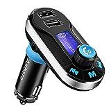 Anbero FM Transmitter Bluetooth Auto Adapter Freisprecheinrichtung Kfz-Einbausatz mit 3,5 mm-Audio-Anschluss, Lesen Mikro-Sd-Karte und USB-Sticks