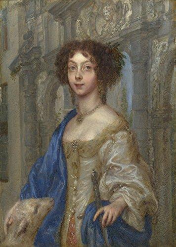 Das Museum Outlet-Gonzales Coques-Portrait Of eine Frau als Saint Agnes, gespannte Leinwand Galerie verpackt. 29,7x 41,9cm