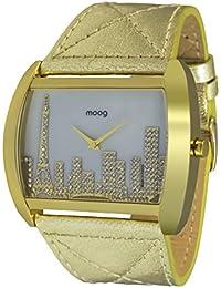 Moog Paris Skyline Reloj para Mujer con Esfera Blanca, Correa Dorada de Piel Genuina y Cristales Swarovski - M41882-001