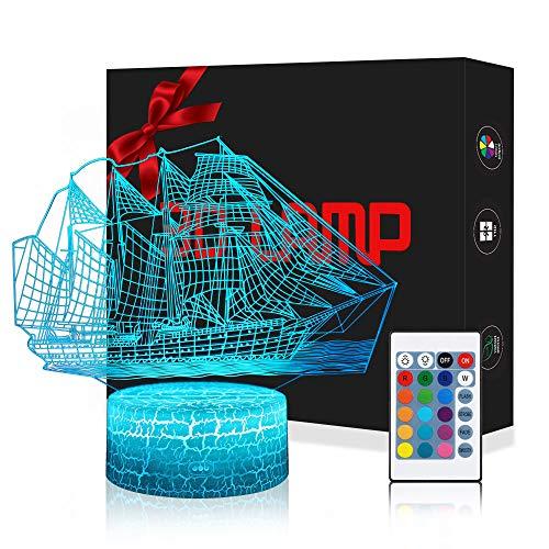 3D Boot Meer Lampe LED Nachtlicht mit Fernbedienung, USlinsky 7 Farben Wählbar Dimmbare Touch Schalter Nachtlampe GeburtstagGeschenk, FroheWeihnachten Geschenke Für Mädchen, Männer, Frauen, Kinder - Meer-lampe