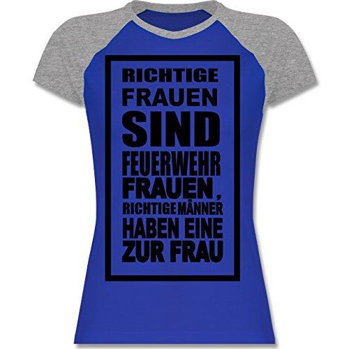 Feuerwehr - Feuerwehr - Richtige Frauen - zweifarbiges Baseballshirt / Raglan T-Shirt für Damen Royalblau/Grau meliert