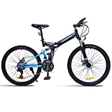 GPAN Vélo VTT Pliable Vélo de Montagne pour Adulte 26 Pouces,24 Vitesses,Double Freins A Disque,Full Suspension, Hors Route vélo Hommes et Femmes,Blue