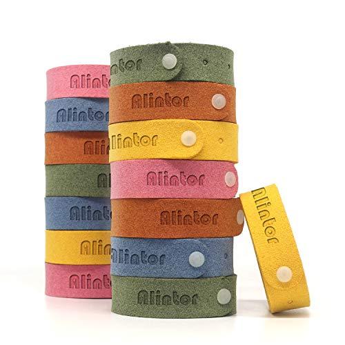 Alintor 15 pezzi braccialetto repellente, braccialetto antizanzare naturali olio essenziale, senza deet per bambin e adulti indoor outdoor