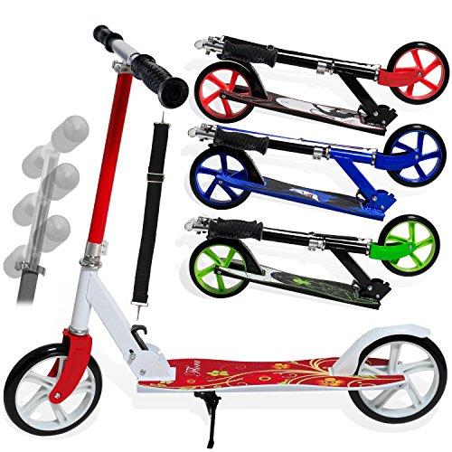 Kesser® Scooter Roller Cityroller Kinderroller Tretroller Kickroller Kickscooter, Kinder 205mm klappbar ABEC7 Kugellagern Design (Flora ( Red )