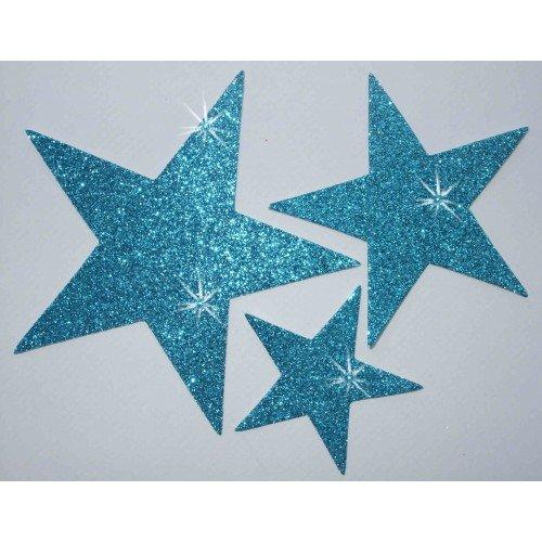 Stars Kostüme Dance (Stoff Glitzer 3Star zum Aufbügeln hellblau Hotfix Dance Kostüm T-Shirt Kleid Transfer)