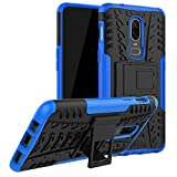 DMG One Plus 6 Back Cover, Shockproof Rugged Hybrid Armor Kickstand Case for OnePlus 6 (Blue Mesh)