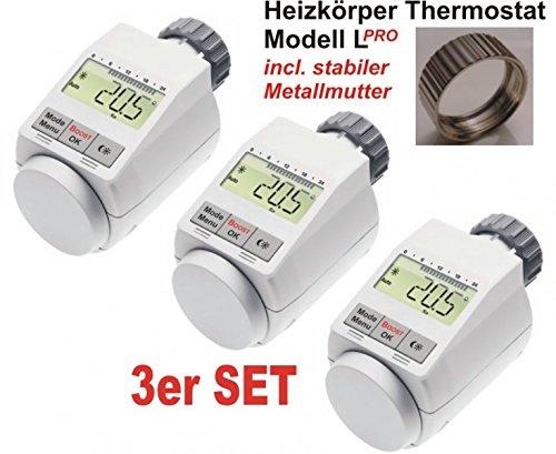 Komfort Heizkörperthermostat Model L \'PRO\' mit Boost Funktion - 3er Set +++ incl. stabiler Metallmutter !!