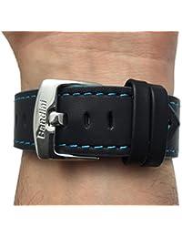 Reloj de pulsera banda de cuero, Racer, 22mm, color negro con costuras de color azul