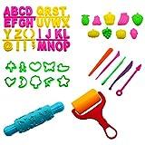 TOYMYTOY Herramientas de Plastilina Conjunto de Coloridas Moldes de Animal para Niños Bebé Infantil 58 piezas