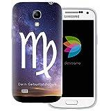 dessana Sternzeichen Horoskop Transparente Silikon TPU Schutzhülle 0,7mm dünne Handy Tasche Soft Case für Samsung Galaxy S4 Mini Jungfrau Galaxie