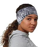 TrailHeads gemustertes Damen Pferdeschwanz Stirnband - 9 Farben (grau Matrix)