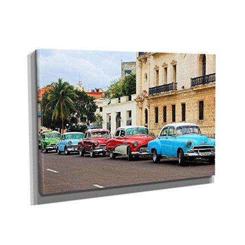 Nerdinger Havanna Oldtimer - Kunstdruck auf Leinwand (60x40 cm) zum Verschönern Ihrer Wohnung. Verschiedene Formate auf Echtholzrahmen. Höchste Qualität.