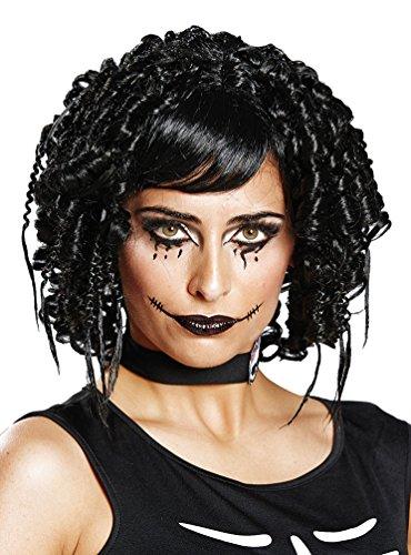 Karneval-Klamotten Gothic Perücke Halloween Horror Puppe Dolly Perücke schwarz -