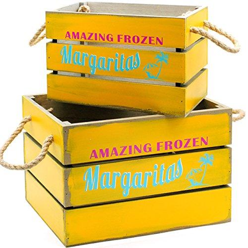 Große Margarita (alles-meine.de GmbH 2 TLG. XL Set - Deko Holz - Kisten / Holzboxen -  Vintage Look - Amazing Frozen Margaritas - gelb  - z.B. Getränke & Flaschen - Party - Holzkiste - Utensilo..)