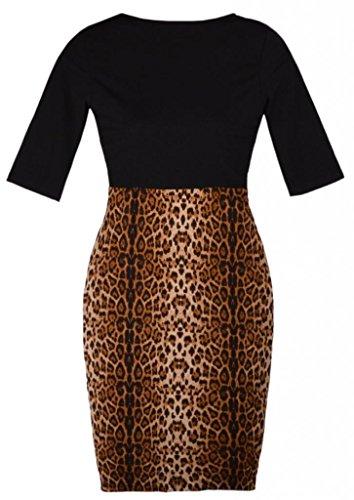 Damen 1/2 Langarm Leopard Spleisse Etuikleid Mehrfarbig