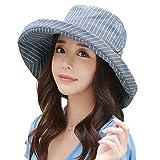 SIGGI Damen Baumwolle Sonnenhut Sun Shade mit Kinnriemen SPF50 + breite Krempe schwarzblau