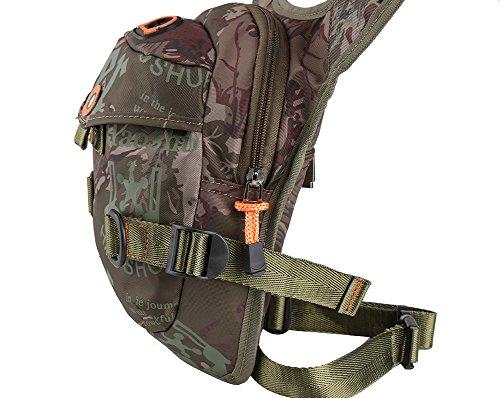 Genda 2Archer Stylish Oberschenkel Beintasche Nylon Taille Tasche für Sport Wandern Klettern Radfahren (DunkelBlau) Camo Braun