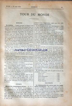 COSMOS [No 291] du 23/08/1890 - TOUR DU MONDE - MEDECINE / LE CHOLERA - PHYSIQUE / MESURE DES TEMPERATURES ELEVEES - ELECTRICITE - LE PLATEAU DE CAMPRIEU SOUS LEQUEL COULE LE RUISSEAU DE BRAMABIAU