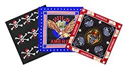 Cotton bandana scarf headband 3 pack flags, skull, pirate or chinese