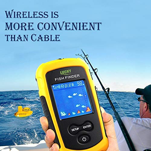 Yaoaomon Lucky Wireless Sonar Fish Finder 40m Depth Water-Proof Fish Detector FFCW1108-1 Yellow&Black UK Plug -