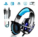 Für größere Ansicht Maus über das Bild ziehen Gaming Headset, KOTION Each PC Headphones with Mic LED Light Noise Cancelling & Volume Control for, PS4, PC, Xbox One, Xbox 360, Plug