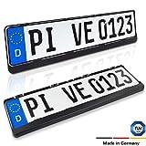 Kennzeichenhalter 2er Set - Nummernschildhalterung für alle europäischen Fahrzeuge (ausgenommen Österreich) - Witterungsbeständig und TÜV geprüft für Ihr Auto - schwarz (2er, schwarz)