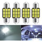 KaTur 31mm Festoon C5W Ampoules LED 6000K Blanc Canbus extrêmement Lumineux sans Erreur 3175 DE3175 DE3021 3022 3021 Lumières de Porte de Plaque d'immatriculation de dôme intérieur (4pcs, Blanc)