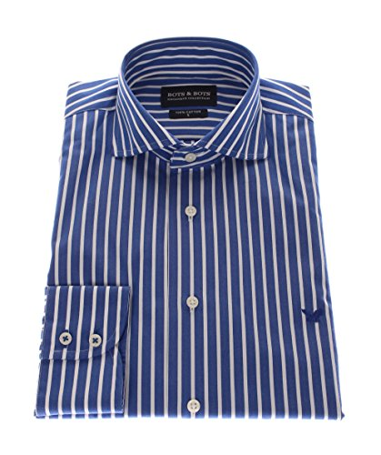 161011 Bots & Bots Exclusive Collection - Hemd Baumwolle Wide Spread Kragen Normal Fit Blau