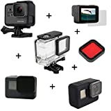 kingwon 6 in 1 Zubehör Kit für GoPro Hero 5 Kamera Schutz Transparent Wasserdicht Tauchen Gehäuse + Hard Frame Case + Soft Silikon Cover + Lens Cap + Tempered Glass Screen + Tauchen Filter für Gopro Sport Kamera