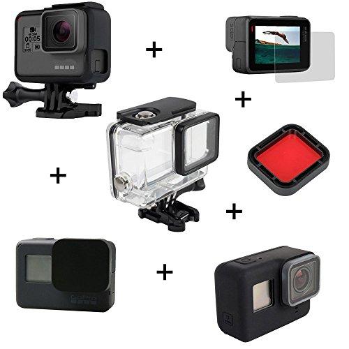 kingwon 6in 1Zubehör Kit für GoPro Hero 5Kamera Schutz Transparent Wasserdicht Tauchen Gehäuse + Hard Frame Case + Soft Silikon Cover + Lens Cap + Tempered Glass Screen + Tauchen Filter für Gopro Sport Kamera