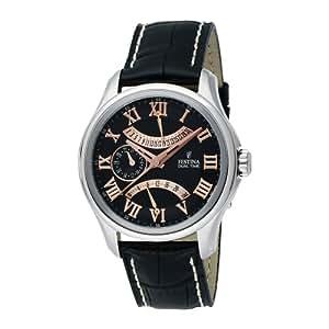 Festina Homme F16275 / 9 e année Retro Bracelet en cuir acier inoxydable 24 heures montre Dual Time
