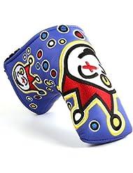 Joker, payaso estilo personalizado Golf hoja Putter cabeza cubierta, rojo, negro o azul, azul