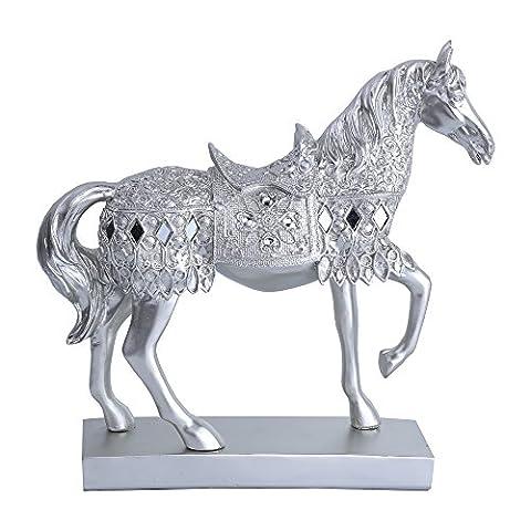 Greencherry rétro Résine Argent gravé Marche Sculpture Cheval Statue Figurine Décoration Décor Collectible