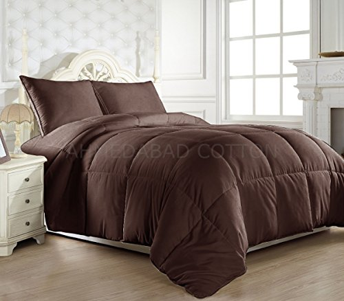 Ahmedabad Cotton Ultra-Plush Solid Microfibre Double Comforter, Chocolate Brown